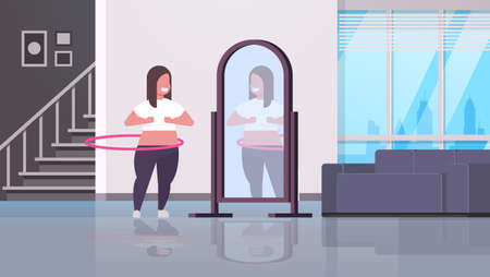 overweight woman doing gymnastic rotating workout with hula hoop looking at reflection in mirror girl weight loss concept modern home apartment interior full length horizontal vector illustration