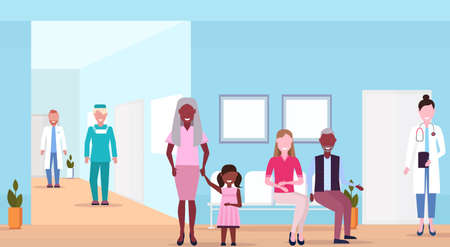 mix race patients and doctors in hospital waiting hall helthcare concept medical clinic corridor interior horizontal flat vector illustration Stock Illustratie