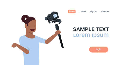 woman blogger broadcasting live stream report shooting selfie video african girl recording herself using camera gimbal stabilizer blogging concept copy space horizontal vector illustration Reklamní fotografie - 124084255
