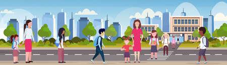parents with children crossing crosswalk pupils walking in front of school building primary schoolchildren back to school concept cityscape background flat full length horizontal vector illustration Ilustrace