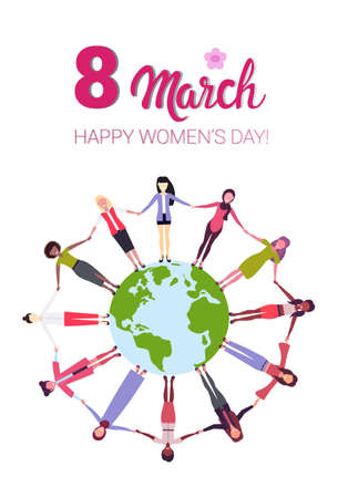 mix race women holding hands around globe international happy 8 march day holiday concept girls surrounding world vertical greeting card vector illustration
