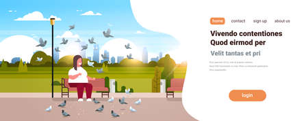 fat obese man feeding flock of pigeon overweight guy relaxing city urban park over size smiling character sitting bench cityscape background horizontal copy space vector illustration Banque d'images - 120291528