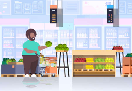 fat obese man with shopping trolley cart choosing vegetables and fruits overweight african american guy supermarket customer weight loss concept grocery shop interior horizontal full length vector illustration