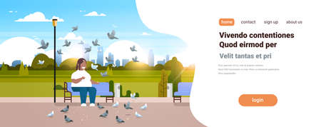 fat obese man feeding flock of pigeon african american overweight guy relaxing city urban park over size smiling character sitting bench cityscape background horizontal copy space vector illustration Illustration