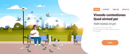 gros homme obèse nourrir troupeau de pigeon afro-américain en surpoids guy détente ville parc urbain sur la taille caractère souriant assis banc paysage urbain arrière-plan horizontal copie espace illustration vectorielle
