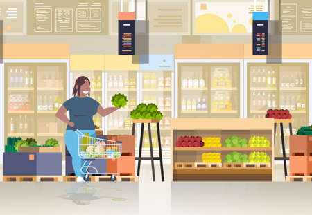 fat obese woman with shopping trolley cart choosing vegetables and fruits weight loss concept overweight african american girl supermarket customer grocery shop interior horizontal full length vector illustration