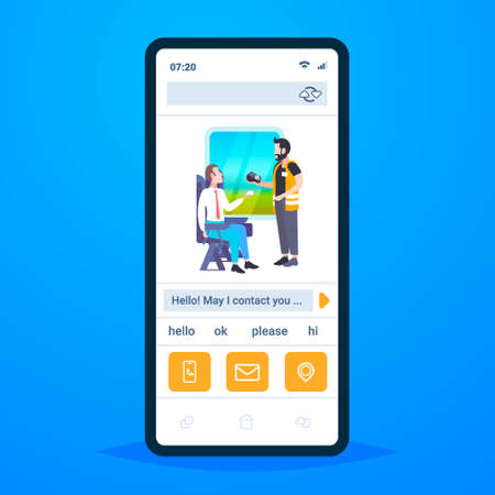 inspector man selling tickets to male passenger sitting in train compartment online mobile app smartphone screen ticket validation concept railway transport traveling flat full length vector illustration