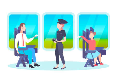 inspector woman checking tickets of passengers sitting in train compartment ticket validation concept railway transport traveling flat full length horizontal vector illustration