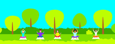 men women sitting lotus pose young people group doing yoga exercises in city park meditation concept female male cartoon characters full length horizontal cityscape background flat vector illustration