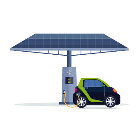 electric car charging on electrical charge station with solar panel renewable eco technologies clean transport environment care concept flat vector illustration