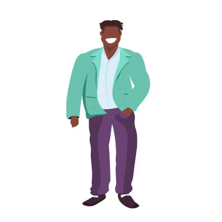 fat obese casual man standing pose smiling overweight african american guy obesity concept male cartoon character full length flat white background vector illustration