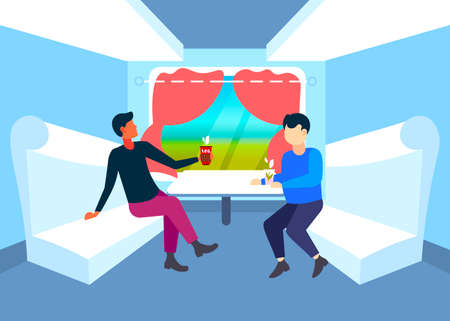 two men sitting together in train compartment passengers discussing drinking tea during vacation trip railway transport traveling concept flat full length horizontal vector illustration