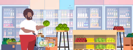 fat obese man with shopping trolley cart choosing vegetables and fruits overweight african american guy supermarket customer weight loss concept grocery shop interior horizontal portrait vector illustration Illustration