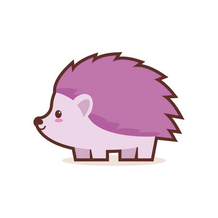 cute little hedgehog cartoon comic character with smiling face happy emoji anime kawaii style funny animals for kids concept vector illustration