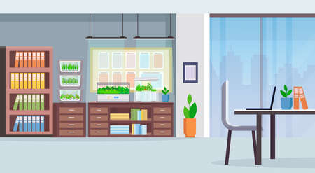 creative co-working center workplace desk modern office interior with electronic terrarium glass container plants growing concept flat horizontal vector illustration