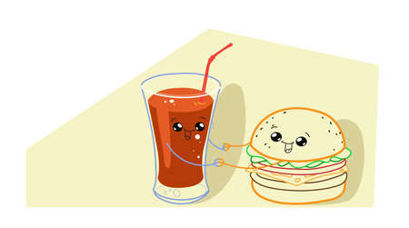 cute hamburger with tomato juice cartoon comic characters smiling faces tasty fastfood happy emoji kawaii hand drawn style classic american fast food concept horizontal vector illustration Illustration