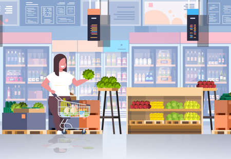 fat obese woman with shopping trolley cart choosing vegetables and fruits weight loss concept overweight girl supermarket customer grocery shop interior horizontal full length vector illustration