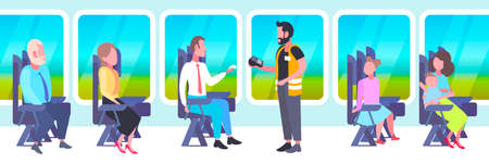 inspector man selling tickets to passengers sitting in train compartment during vacation trip ticket validation concept railway transport traveling flat full length horizontal vector illustration