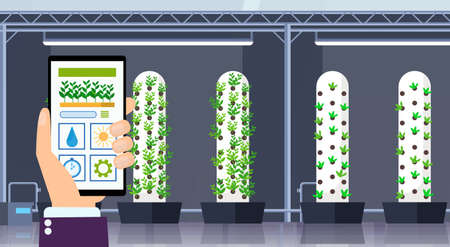 hand using mobile app smart control farming system agriculture concept smartphone screen modern organic hydroponic vertical farm interior green plants growing industry horizontal flat vector illustration Vettoriali