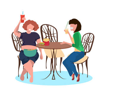 thin and fat women drinking juice and eating fast food during meeting unhealthy lifestyle concept girls sitting cafe table female cartoon characters full length flat horizontal vector illustration Illustration