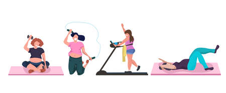 fat obese women doing different exercises overweight girls training aerobic workout weight loss concept flat white background horizontal vector illustration