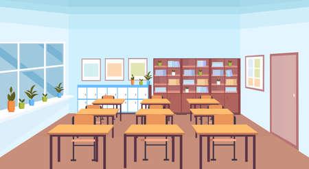 aula de escuela moderna interior estante de libros escritorios y sillas vacíos sin gente banner horizontal ilustración vectorial