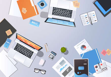 startup concept new business plan creative innovation top angle view desktop laptop smartphone tablet screen paper documents analysis graph office stuff horizontal vector illustration Vettoriali