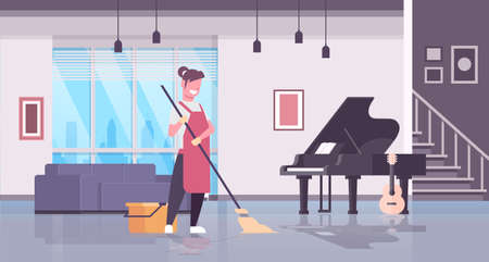 woman in gloves and apron washing floor girl using mop housewife doing housework cleaning concept modern living room interior flat horizontal full length vector illustration