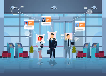 happy people standing financial department with ATM cash machines identification surveillance cctv facial recognition concept business center hall interior security camera system horizontal vector illustration Vector Illustration