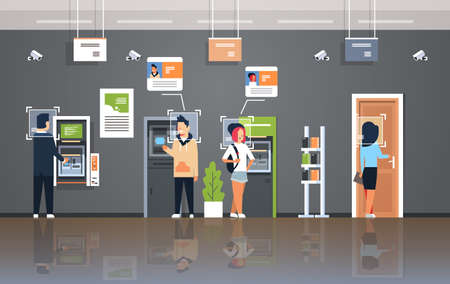 people withdrawing money ATM cash machine identification surveillance cctv facial recognition concept modern bank office interior security camera system horizontal vector illustration Illustration
