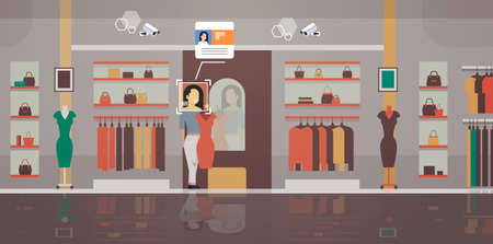 woman trying on new dress clothing store customer identification facial recognition concept modern boutique interior security camera surveillance cctv system horizontal full length vector illustration