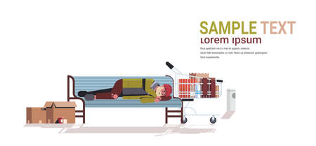 poor man sleeping outdoor drunk beggar lying on wooden bench homeless concept white background horizontal full length copy space vector illustration