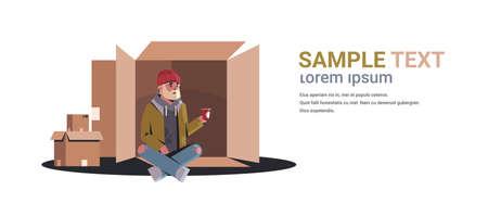 Armer Mann, der aus Karton sitzt und um Hilfe bettelt Bettler, der Pappbecher hält Obdachloses Konzept weißer Hintergrund horizontal in voller Länge Kopie Raum Vektor-Illustration Vektorgrafik