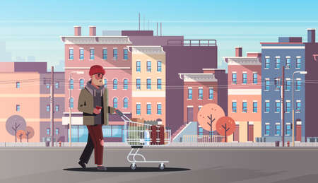 poor man pushing trolley cart with belongings beggar guy walking street begging for help homeless concept modern city buildings cityscape background horizontal full length vector illustration