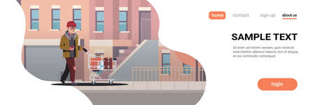 poor man pushing trolley cart with belongings beggar guy walking street begging for help homeless concept modern city buildings cityscape background horizontal full length copy space vector illustration Illustration