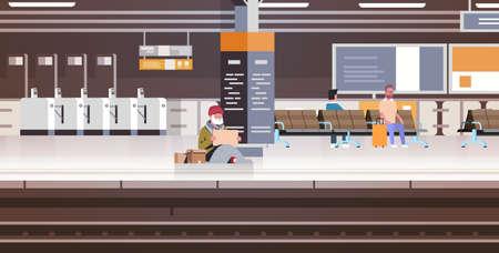 poor man with sitting on floor railway station begging for help beggar guy holding sign board homeless concept horizontal full length vector illustration