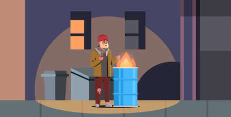 poor bearded man warming his hands by fire beggar guy standing near burning garbage in barrel homeless jobless concept trash can city night street background full length vector illustration