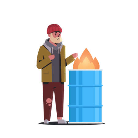 poor bearded man warming his hands by fire beggar guy standing near burning garbage in barrel homeless jobless concept white background full length vector illustration