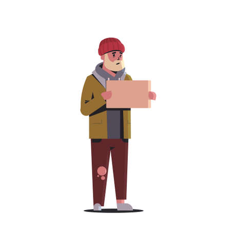 poor bearded man begging for help beggar guy holding sign board homeless jobless concept white background horizontal full length vector illustration