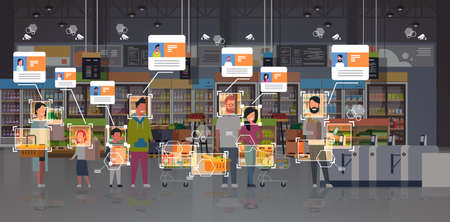 grocery shop customers identification surveillance cctv facial recognition concept mix race people standing line queue at cash desk modern supermarket interior security camera system horizontal vector illustration Illustration