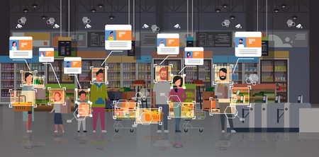 tienda de abarrotes, clientes, identificación, vigilancia, cctv, reconocimiento facial, concepto, mezcla, raza, gente, posición, fila, cola, en, caja, moderno, supermercado, interior, seguridad, cámara, sistema, horizontal, vector, ilustración
