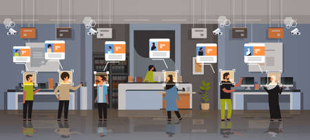 mix race customers choosing digital devices identification facial recognition concept modern electronics store shop interior security camera surveillance cctv system horizontal full length vector illustration
