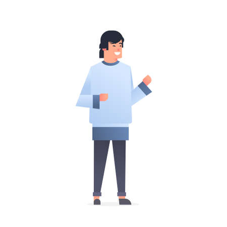 young asian guy wearing casual clothes happy attractive man standing pose chinese or japanese male cartoon character full length flat white background vector illustration