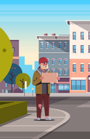 poor bearded man begging for help beggar guy holding sign board homeless jobless concept modern city street cityscape background vertical full length vector illustration Illustration