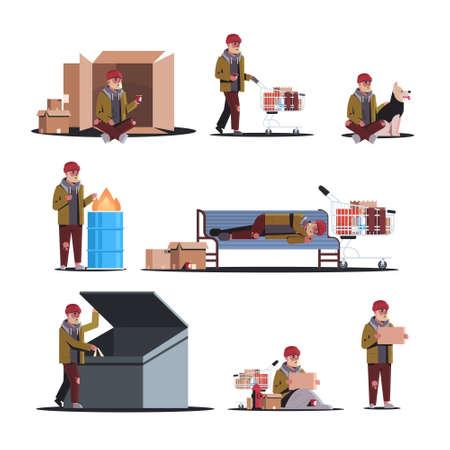 Armer Mann auf der Straße verschiedene Posen setzen um Hilfe betteln Bettler obdachlos arbeitslos Konzepte Sammlung weißer Hintergrund in voller Länge Vektor-Illustration