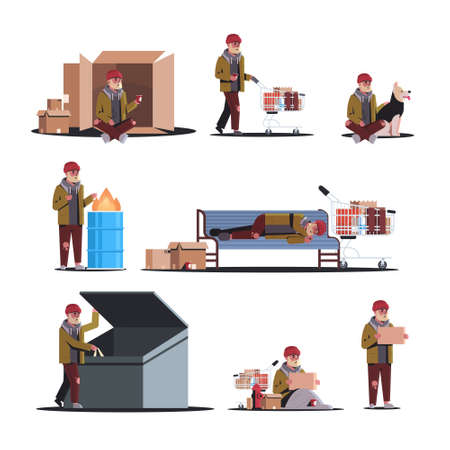 poor man on street different poses set begging for help beggar guy homeless jobless concepts collection white background full length vector illustration Фото со стока - 123673366