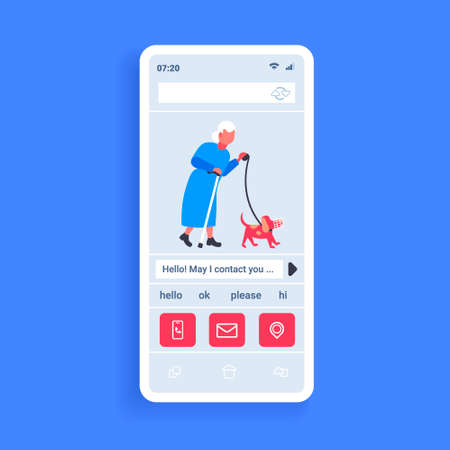 senior woman walking with dog in muzzle best friend concept grandmother and animal pet having fun online mobile social network communication app smartphone screen flat vector illustration