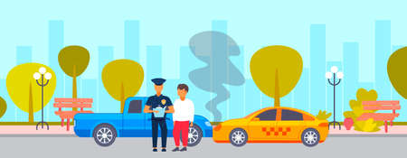 car accident crash on road driver with police officer standing over broken vehicle collision concept policeman writing report cityscape background flat horizontal vector illustration Stock Illustratie