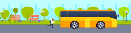 african american teenager running to catch school bus hurry up late concept male student waving hand gesture city urban park landscape background horizontal banner vector illustration