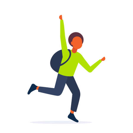 african american teenager guy running to catch public transport hurry up late concept male student waving hand gesture white background full length vector illustration